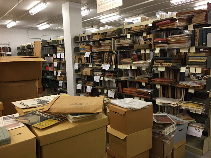 Inside the climate-controlled vault at the Yiddish Book Center