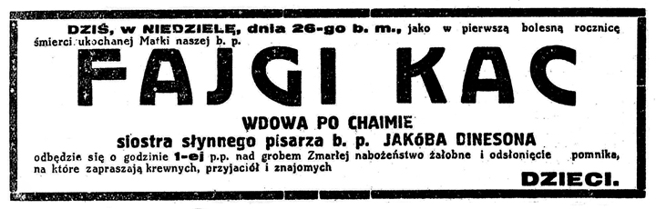 Headstone Unveiling Announcement for Fajga Kac, 1930
