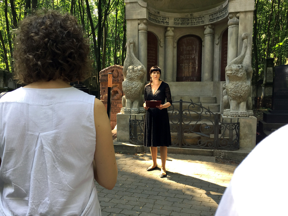 Agnieszka Zolkiewska in front of Mausoleum of the Three Writers