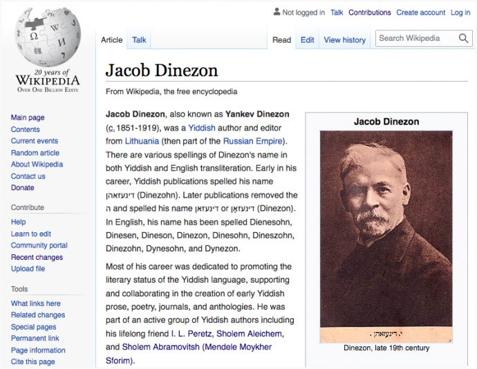 Jacob Dinezon Wikipedia Page